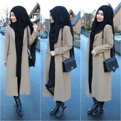 Tesettür uzun kışlık ceket