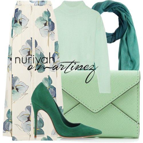 Açık yeşil tesettür kombin