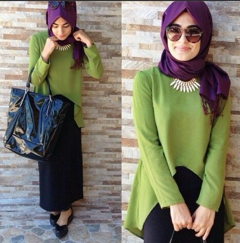 Yeşil bluz etek kombini