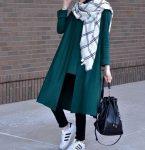 Yeşil kışlık ceket kombini