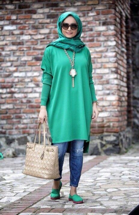 Yeşil triko kot kombini