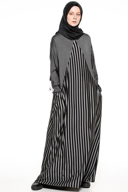 2018 çizgili tesettür elbise