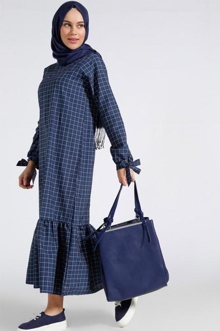 2018 tesettür ekose elbise