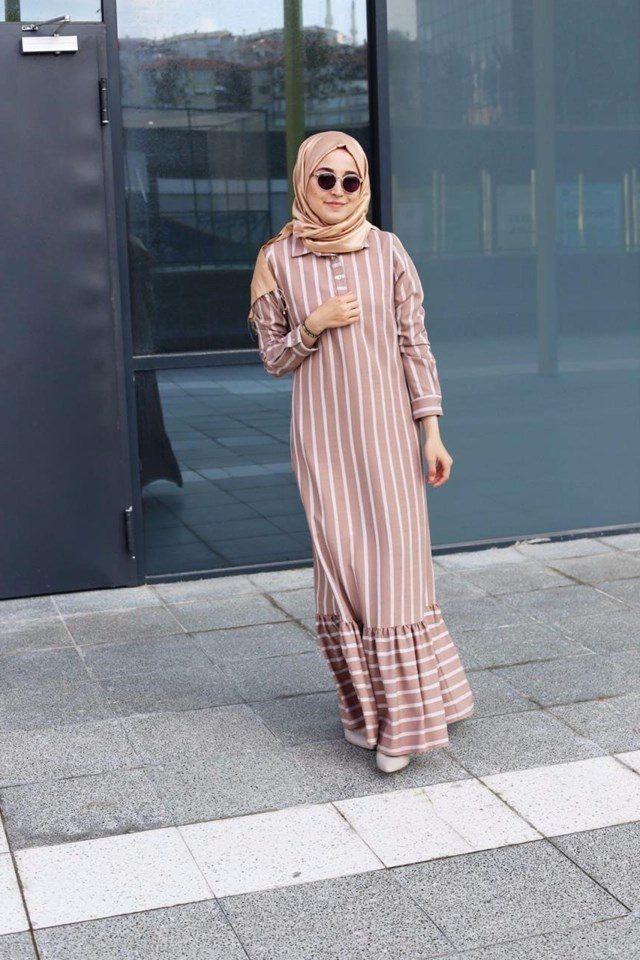 2018 bahar tesettür fırfırlı elbise