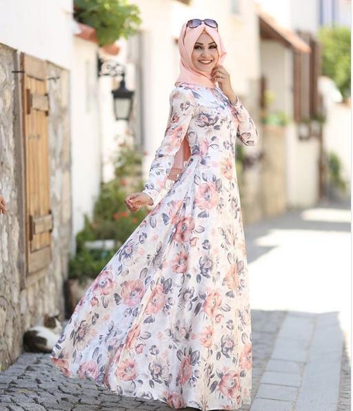 40a3882f8ac0e Çiçekli Tesettür Söz elbisesi