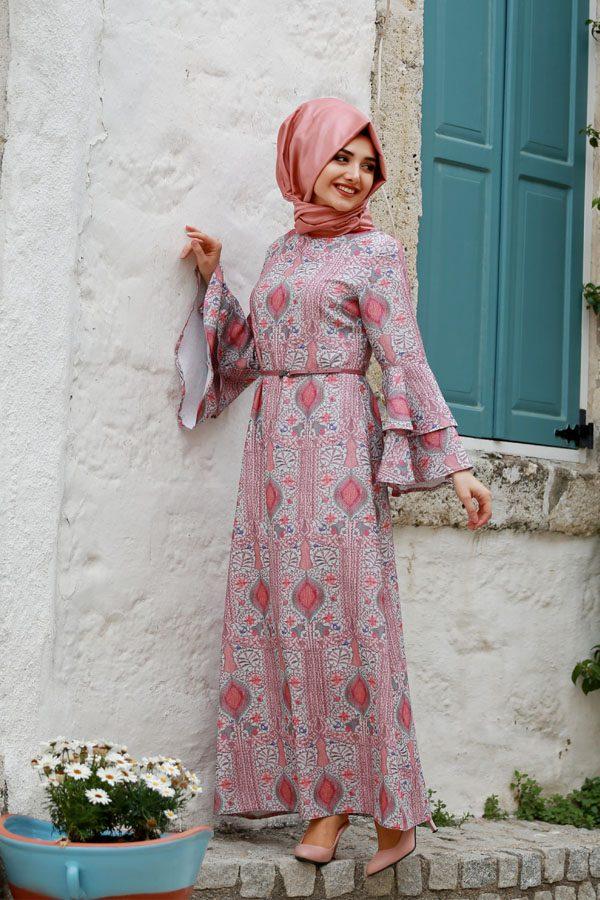 Etnik desenli tesettür söz elbisesi