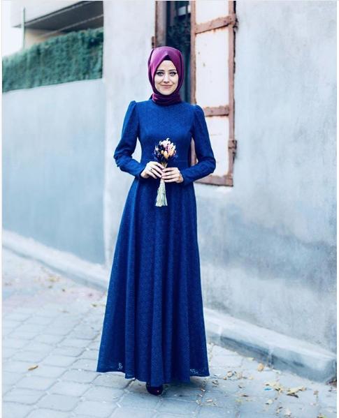 Mavi Tesettür Söz elbisesi
