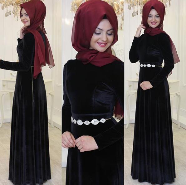 Siyah Tesettür Söz elbisesi