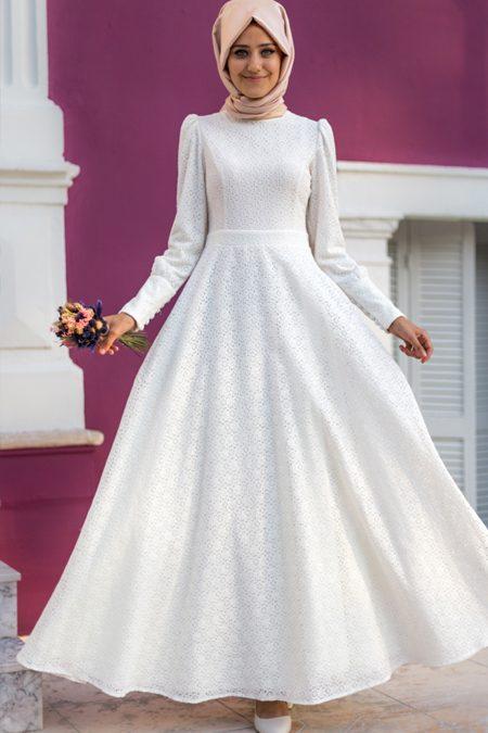 Yazlık beyaz tesettür elbise 2018