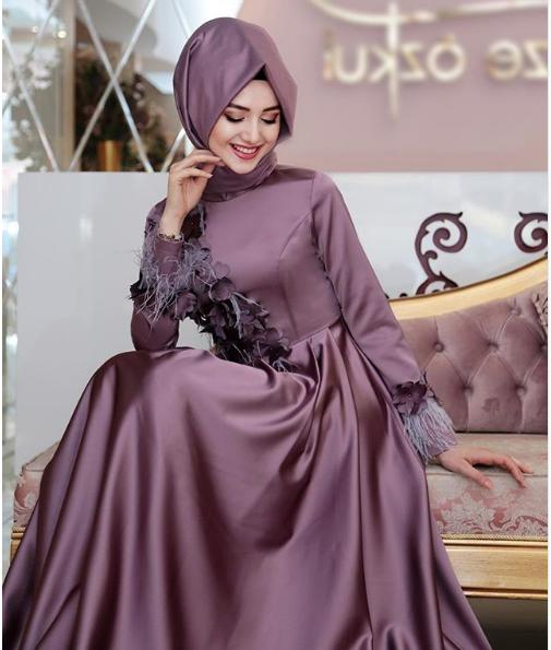 Püsküllü Tesettür kına elbisesi 2018
