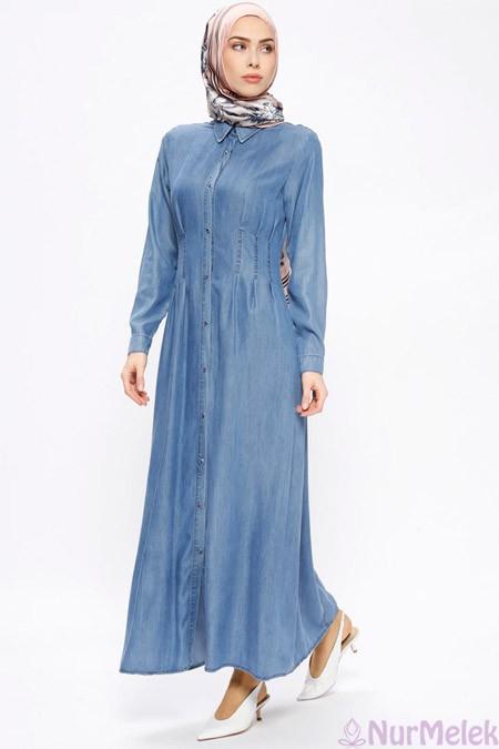 Düğmeli tensel kot elbise