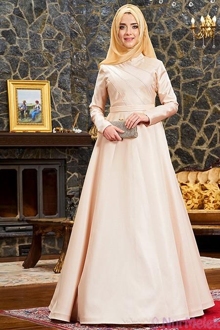 Gold tesettür nikah elbisesi