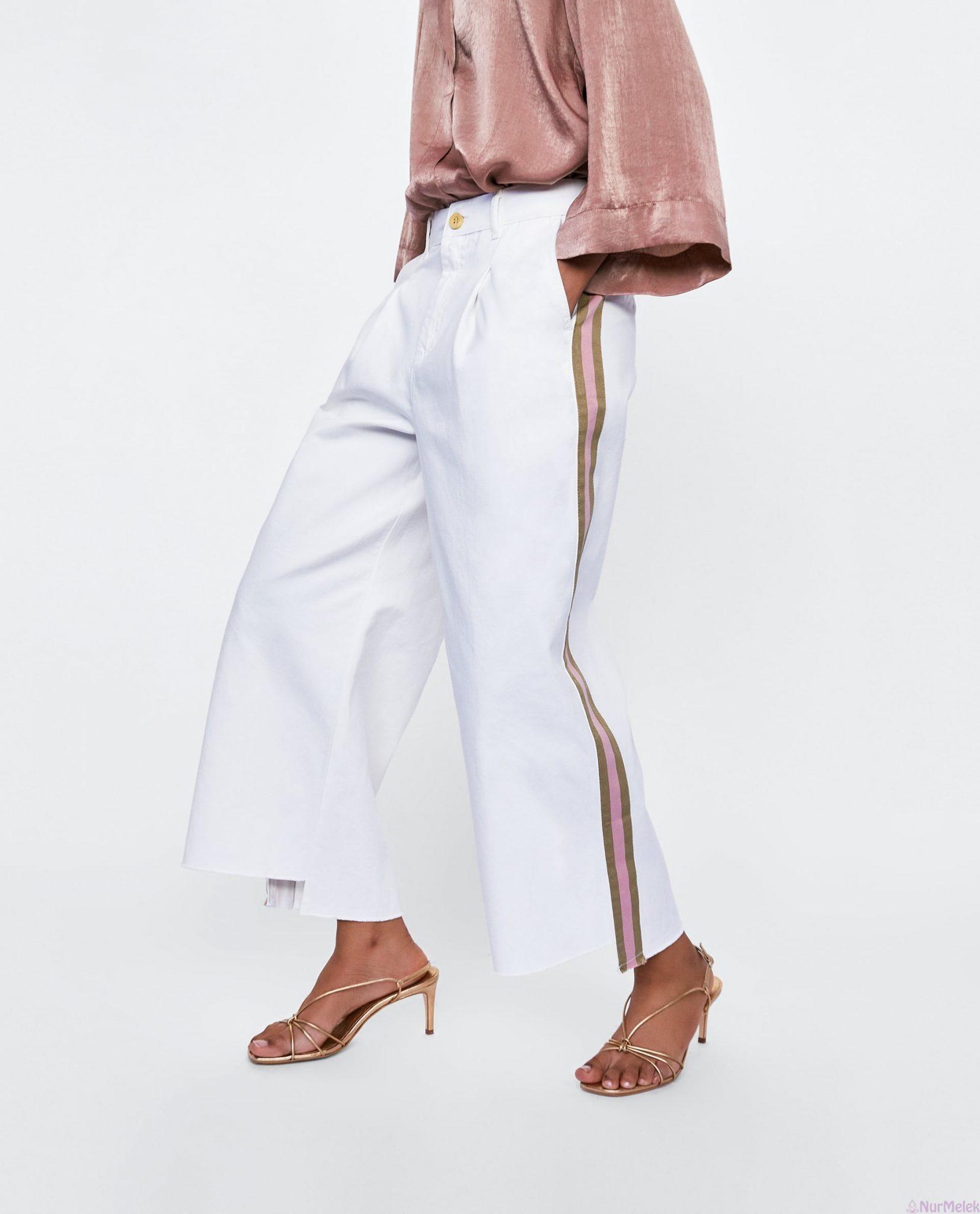 Bol şeritli beyaz pantolon