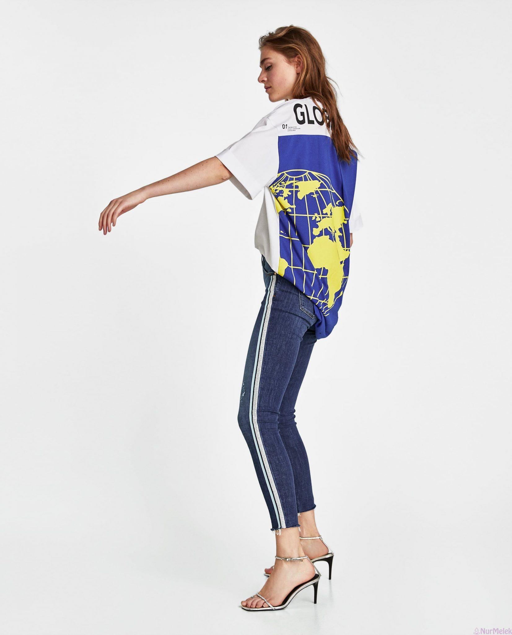 Şeritli kot pantolon kombini