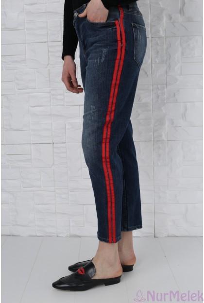 Şeritli kot pantolon