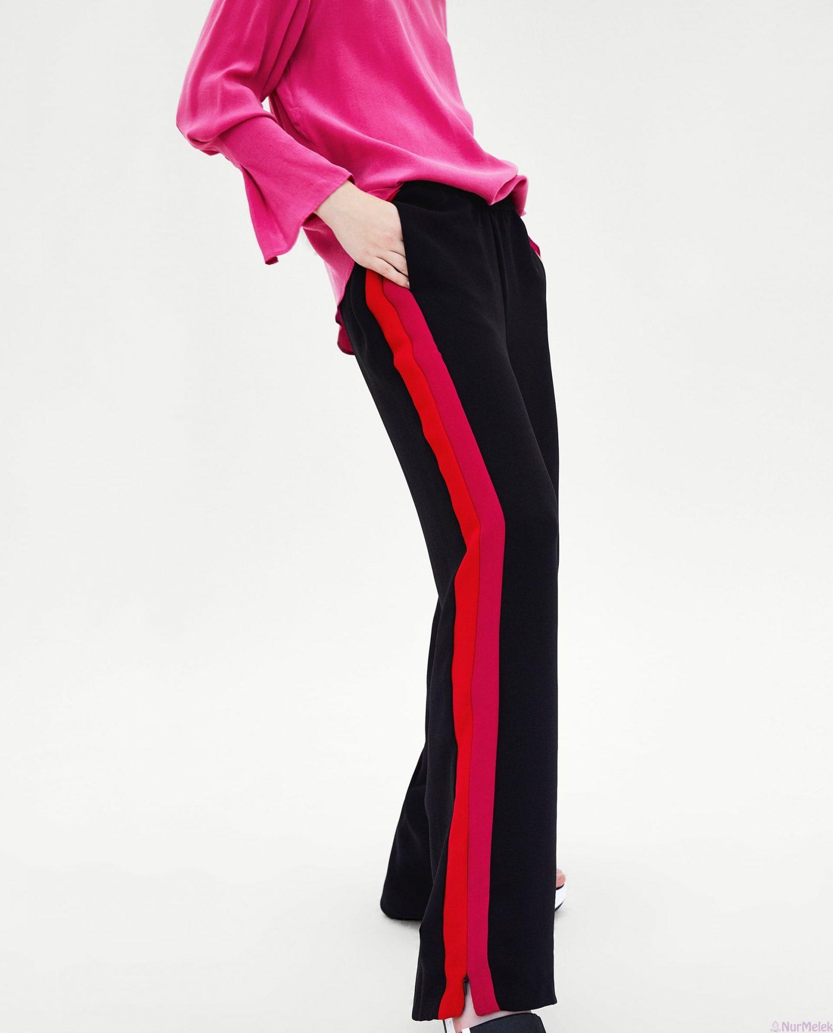 Yazlık şeritli pantolon kombini
