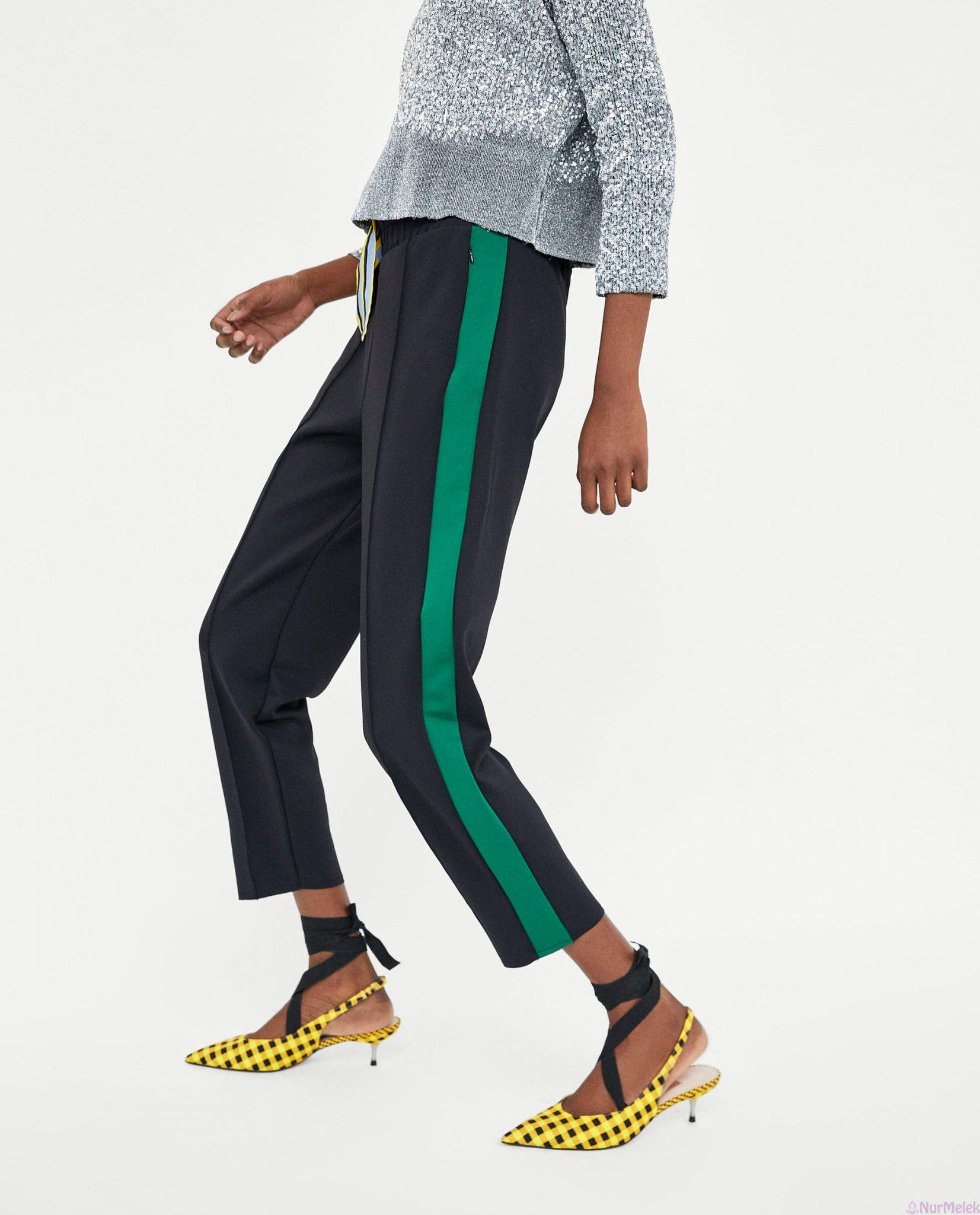 Yeşil şeritli pantolon