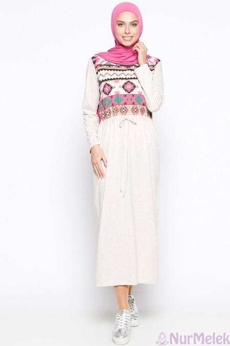 Etnik triko tesettür elbise
