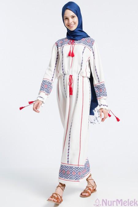 Tesettür Etnik elbise kombini