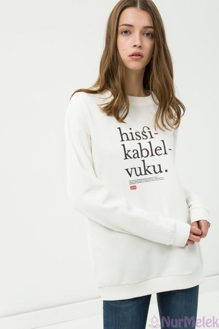 Baskılı beyaz Sweatshirt
