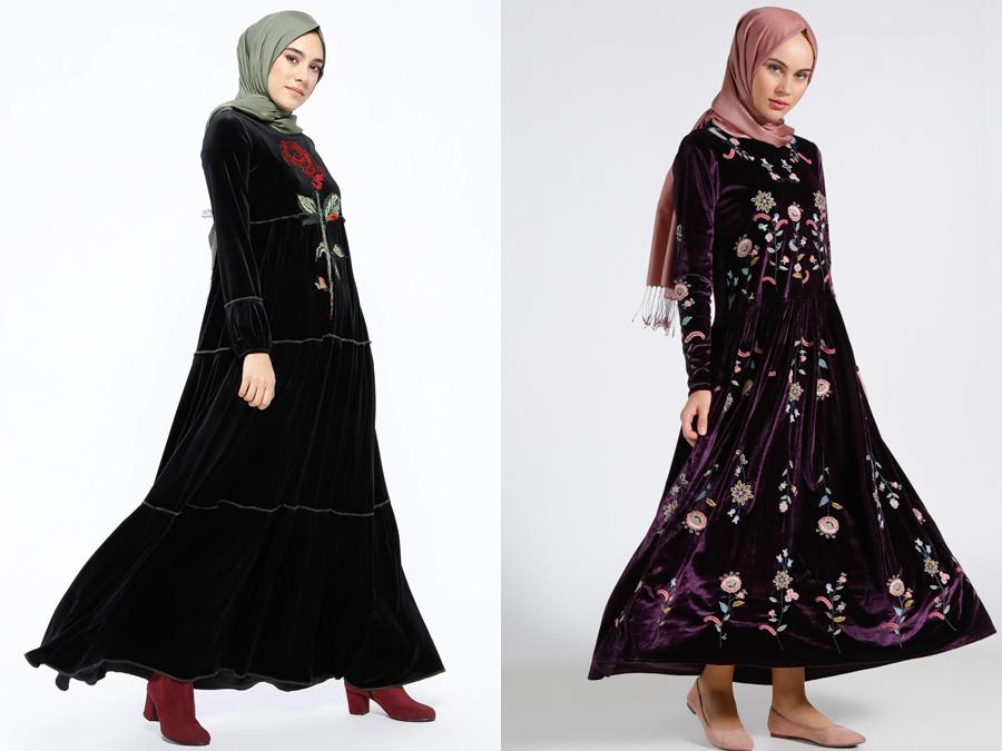 2019 kadife tesettür elbise modelleri