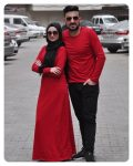 kırmızı tesettür elbise erkek sweat çift kombini