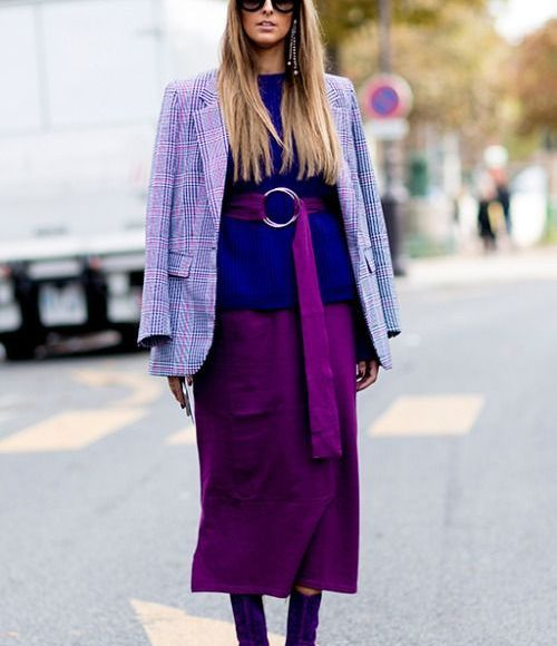lila kışlık ceket kombini