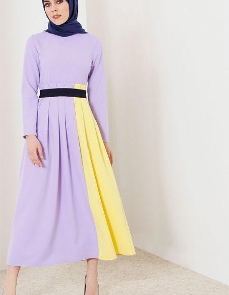 lila sarı tesettür elbise kombini