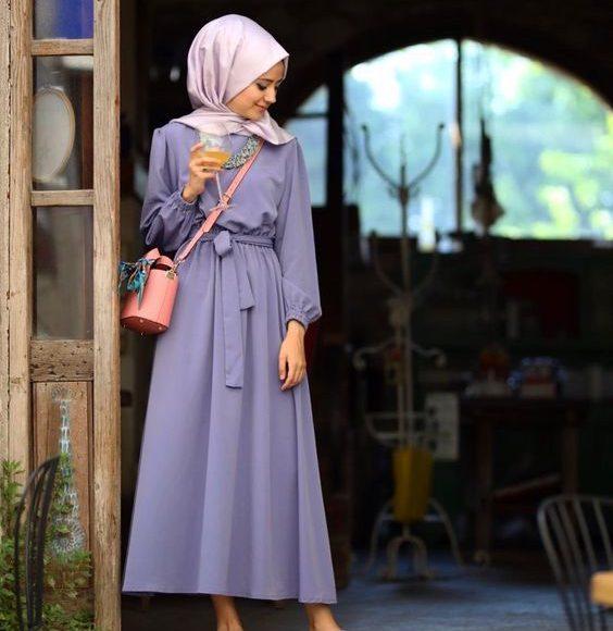 lila tesettür elbise kombini