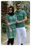 yeşil çizgili tunik thsirt sevgili kombini 2019