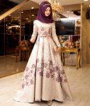 çiçekli tesettür söz elbisesi