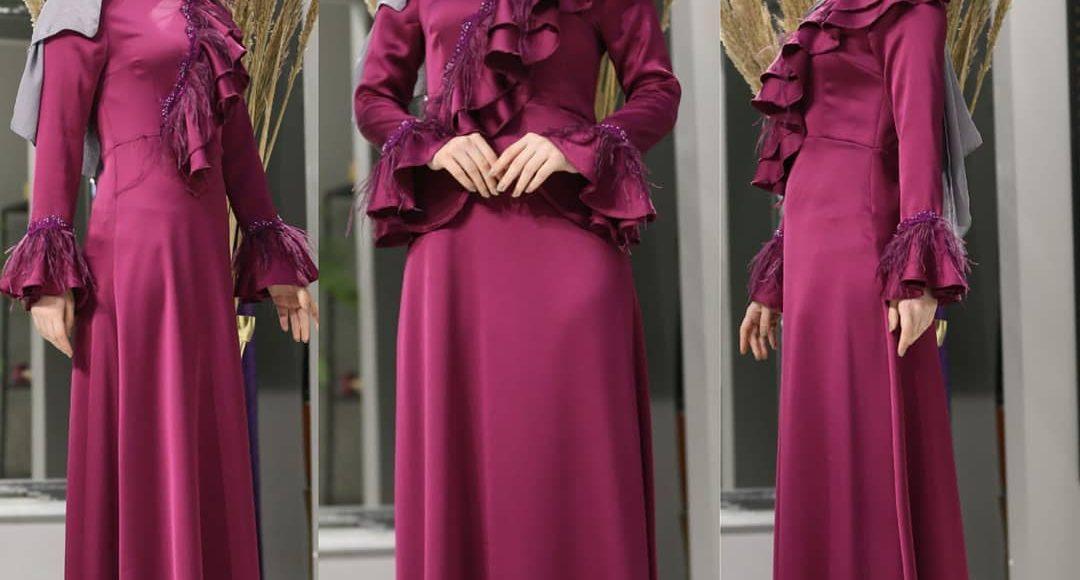 fuşya tesettür söz elbisesi