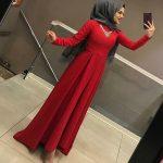 kırmızı tesettür söz elbisesi 2019