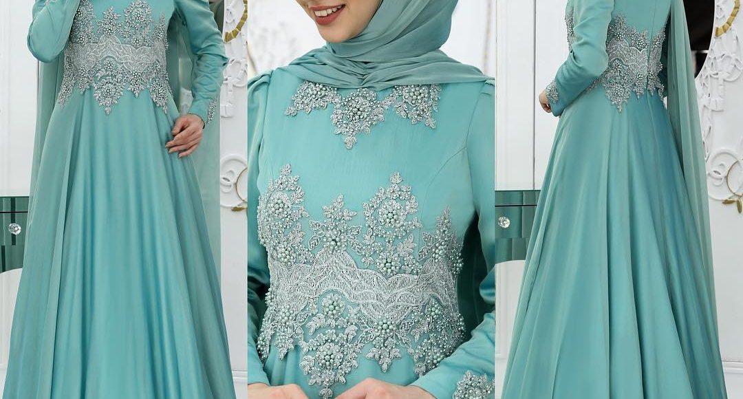 mint yeşili tesettür söz elbisesi