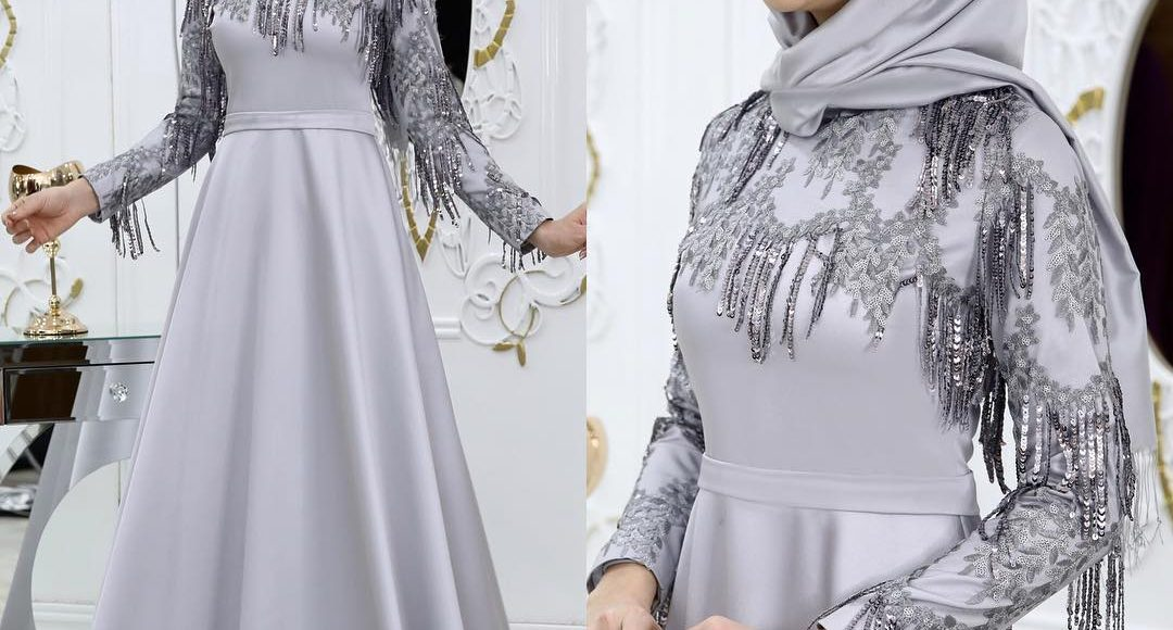 püsküllü tesettür söz elbisesi