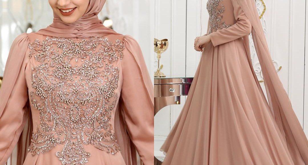 somon renk taşlı tesettür söz elbisesi