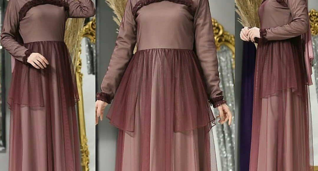 tüllü yeni 2019 tesettür söz elbisesi