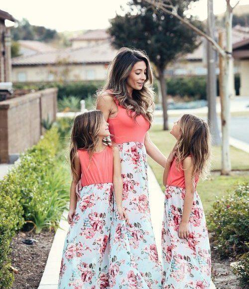 yazlık abla kardeş elbise kombini