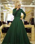 zümrüt yeşil tesettür söz elbisesi