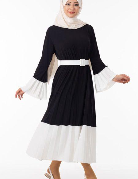 iki renk pliseli tesettür elbise