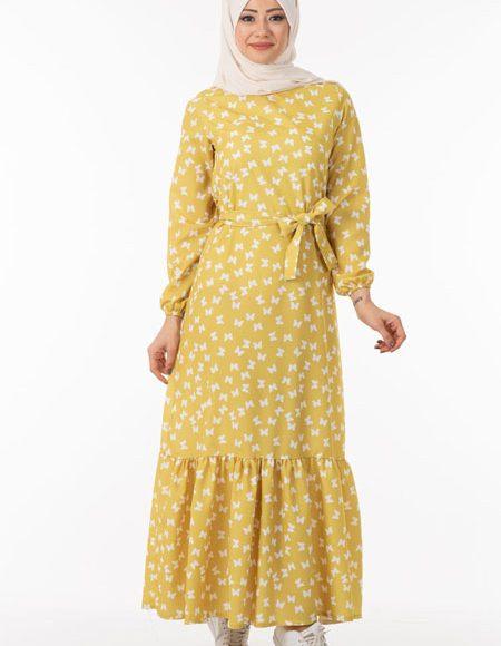 kelebek desenli yazlık tesettür elbise