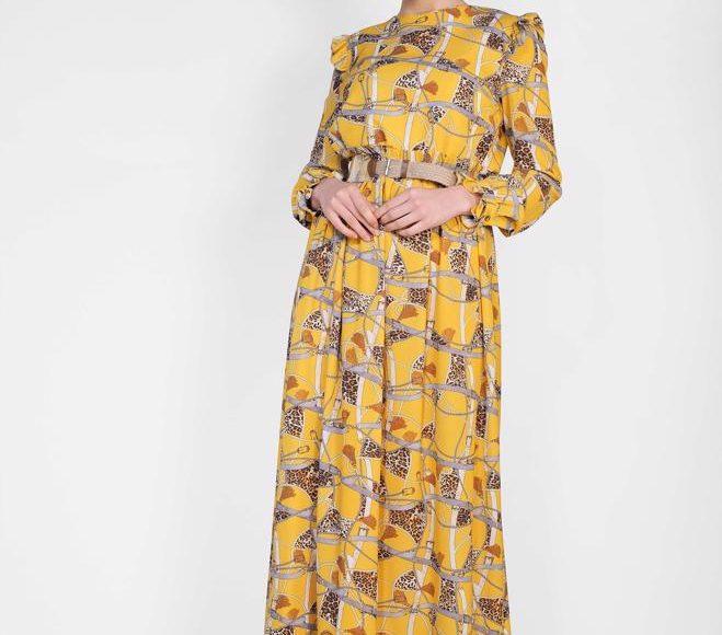 Alvina yazlık sarı elbise 2019