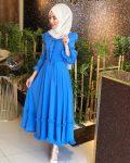 fırfırı mavi tesettür yazlık elbise
