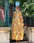 hardal sarısı yaprak desenli elbise