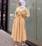 kareli sarı yazlık elbise