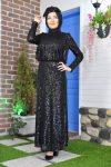 Pullu Siyah Abiye Elbise 2020
