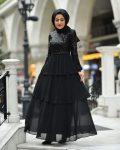 yazlık tesettür siyah abiye elbise