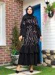 Yeni Pul Payet Siyah Krep Elbise