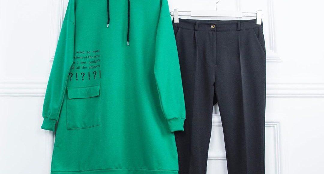 yeşil spor tesettür sweat kombini