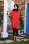 Kırmızı Verev Tunik Tesettür Takım 2020